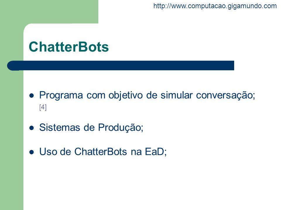 ChatterBots Programa com objetivo de simular conversação; [4]